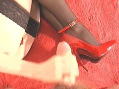 Cumshot on my red patent high heels