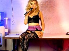 Blonde Katie phonesex girl in black lingerie