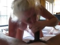 Blonde mature gives head