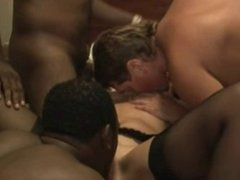 Wife Pussy filled by semen by 2 Blacks in front of Husband