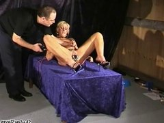 Bizarre medical fetish and electro bdsm of blonde Crystel