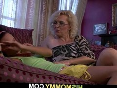 Old mom awakens her son's GF for some lezzie action