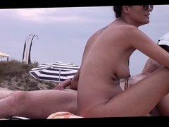 French nudist beach Cap d'Agde brunette handjob -- R2F