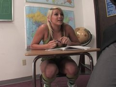 Pretty Blonde Bangs Her Teacher For Better Grades