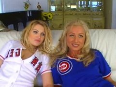 two cute blondes get DP and one swallows from two cocks