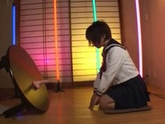 Japanese Schoolgirl Sucking and Riding Dildo