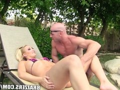 Busty blonde bombshell takes a big cock deep in her ass