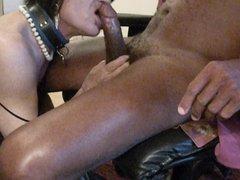 Sucking a big black cock