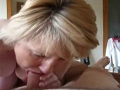 old mom karen taking a big load in mouth