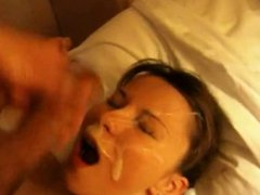 Beautiful young thing gets massive facial.