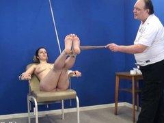 Amateur feet whipping and foot fetish of bondage babe
