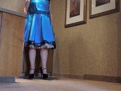 Sissy Ray in Blue Satin Dress in Kitchen