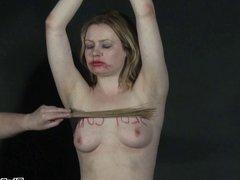 Lesbian humiliation and bizarre lezdom bondage of blonde Amb