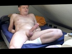 Cumming on bed