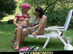 His lesbian mom and girl enjoy great time