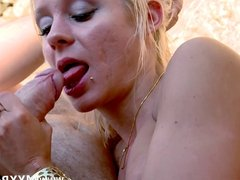 French babe fucked by all her holes on the beach