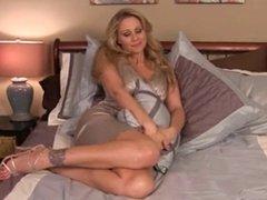 Hot blonde in the bedroom. JOI