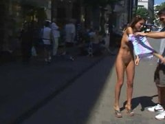 Girl Standing Totally Nude On A Public Street