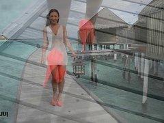 cute girl teasing walking & upskirt in high heels maldives