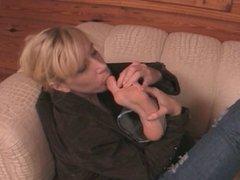 Milf Blonde Self Toe Sucking