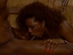 A thick ebony & a black guy get it on in a barn.