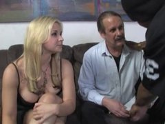 White looser hubby watching his wife used by BBC