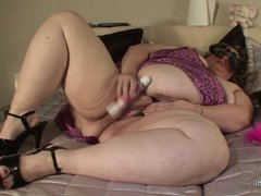 VERY Big mama masturbating on her bed