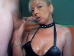 Mistress plays with cock of her stooge