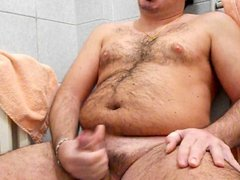 Great jerk off in the bathroom with big cumshot