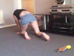 Girl cleaning upskirt