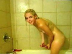 blonde in shower