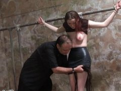 Barn slaves outdoor domination and harsh breast whipping