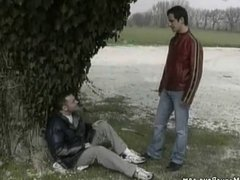 Outdoor gay sex adventure of an adorable city boy