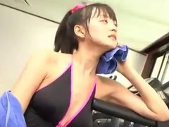 softcore asian exercise in onepiece swimsuit