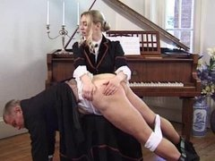 Posh Lady of the manor beats slave with hunting crop