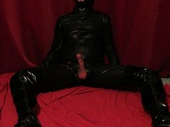 Huge hands free cum shot in catsuit,thigh boots, latex mask