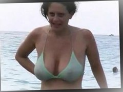 Lady in a gree bikini