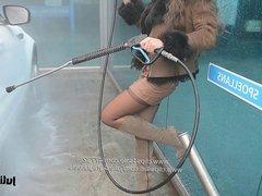 Carwash leather miniskirt & stockings with upskirt voyeur