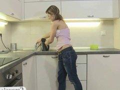 Hot creampie sex in the kitchen