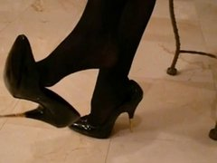 Black gold tip high heels Black nylon