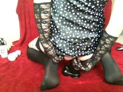 Toy play in spotted silk chemise and mesh stockings 4