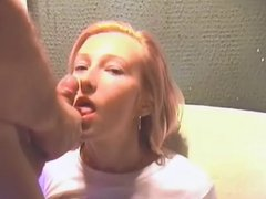 Amateur blonde beauty huge load facial