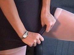 Naughty big-tit blonde fingering in white pantyhose