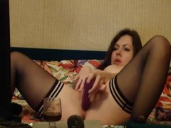Big boobed woman using her all toys