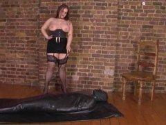 AMAZING BBW Mistress in velvet fucks slave