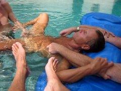 Randy having fun in the pool