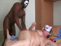 Masked granny gets a good fucking from black stud