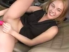 Horny girl masturbating in car