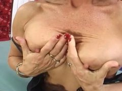 Stocking Loving MILF Has A Very Hairy Snatch