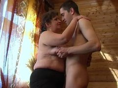Ugly granny with saggy flabby boobs & guy